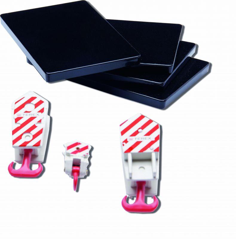 CONRAD-EXTRA Set mit 3x Kranhaken und 4x Abstützmatten