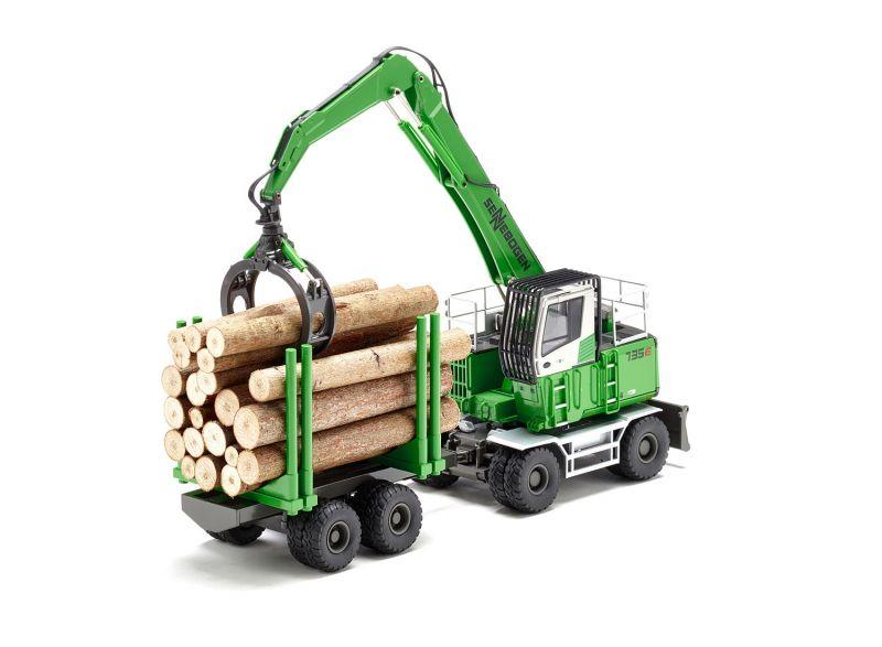 SENNEBOGEN 735 MHD Umschlagmaschine mit Holzgreifer und Anhänger