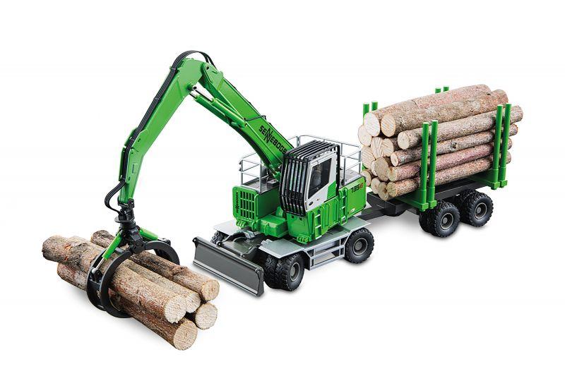 SENNEBOGEN 735 MHD Handling machine with log grab and trailer